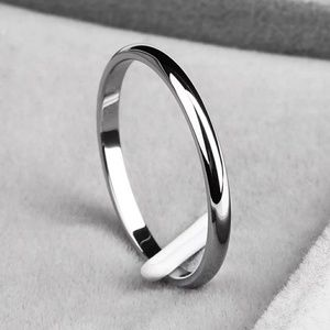 Simple Silver Tone 2mm Band Ring